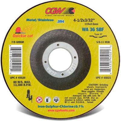 "CGW Abrasives 45028 Cut-Off Wheel 4-1/2"" x 7/8"" 36 Grit Type 1 Aluminum Oxide - Pkg Qty 25"