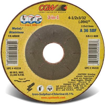 "CGW Abrasives 45218 Depressed Center Wheel 4-1/2"" x 3/32"" x 7/8"" 36 Grit T27 Aluminium Oxide - Pkg Qty 25"
