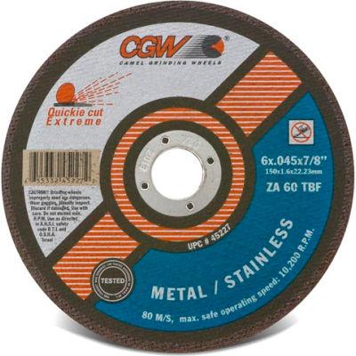 "CGW Abrasives 45286 Cut-Off Wheel 6"" x 7/8"" 60 Grit Type 1 Zirconia Aluminium Oxide - Pkg Qty 50"