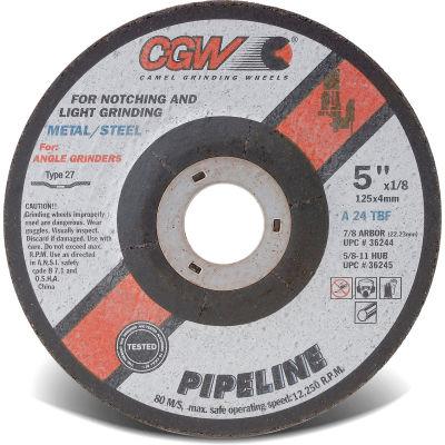"CGW Abrasives 59101 Depressed Center Wheel 4-1/2"" x 1/8"" x 5/8-11"" 24 Grit T27 Aluminium Oxide - Pkg Qty 10"