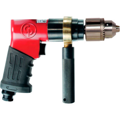 "Chicago Pneumatic Reversible Pistol Grip Air Drill, Jacobs Industrial, 1/2"" Chuck, 840 RPM"