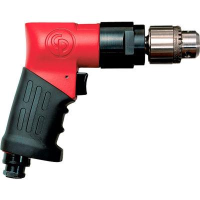 "Chicago Pneumatic Reversible Pistol Grip Air Drill, Jacobs, 3/8"" Chuck, 2000 RPM"