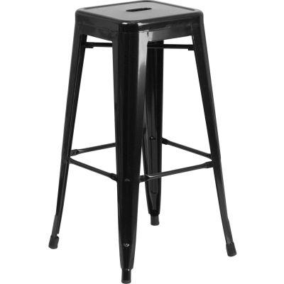 Flash Furniture Backless Barstool - Metal - Square - Black - Pkg Qty 4