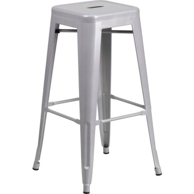 "Flash Furniture 30""H Backless Barstool - Metal - Square - Silver - Pkg Qty 4"