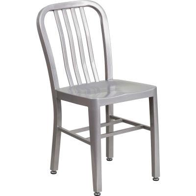 Flash Furniture Metal Indoor-Outdoor Restaurant Chair - Silver