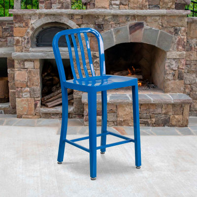 """Flash Furniture 24""""H Blue Metal Counter Height Stool with Vertical Slat Back"""