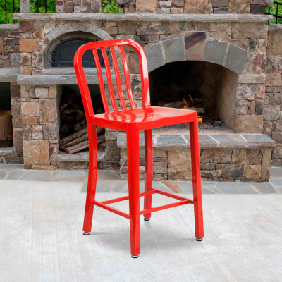 """Flash Furniture 24""""H Red Metal Counter Height Stool with Vertical Slat Back"""