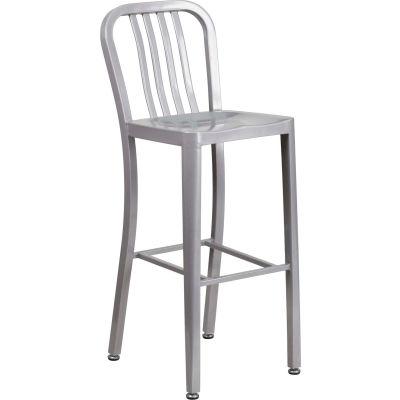 "Flash Furniture 30"" High Metal Indoor-Outdoor Bar Stool - Silver"