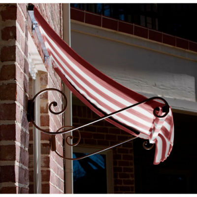 Awntech CH21-4BT Window/Entry Awning 4-3/8'W x 2'H x 1'D Burgundy/Tan