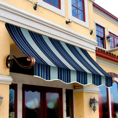 Awntech CH33-8NGW, Window/Entry Awning 8-3/8'W x 3-11/16'H x 3'D Navy/Gray/White