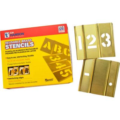 """1/2"""" Brass Interlocking Stencil Numbers, 15 Piece Set"""