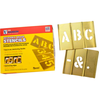 "3/4"" Brass Interlocking Stencil Letters, 33 Piece Set"