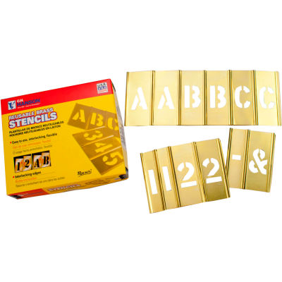 """2"""" Brass Interlocking Stencil Letters and Numbers, 77 Piece Set"""