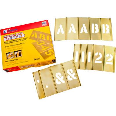 """3/4"""" Brass Interlocking Stencils Letters and Numbers, 92 Piece Set"""