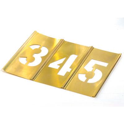 """8"""" Brass Interlocking Stencil Gothic Style Numbers, 13 Piece Kit"""