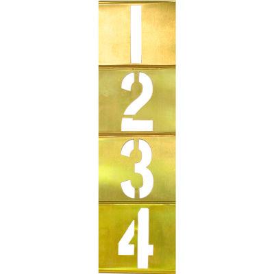 """1"""" Brass Vertical Interlocking Number Stencil, 33 Piece Set"""