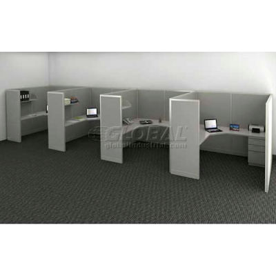 """Compatico CMW Quad Work Station w/ Electric 72""""W x 288""""D x 65""""H - Metallic Silver"""