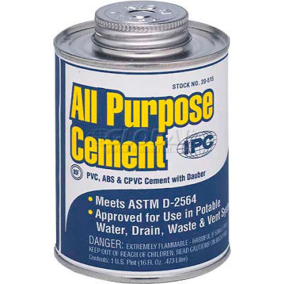 All Purpose Pvc, Cpvc & Abs Cement For Plastic Pipe & Fittings, 1/2 Pt. - Pkg Qty 24