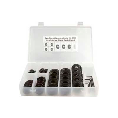 Climax Metal, Two-Piece Clamping Collar Kit, COLLAR KIT #110, 40-Piece, Black Oxide