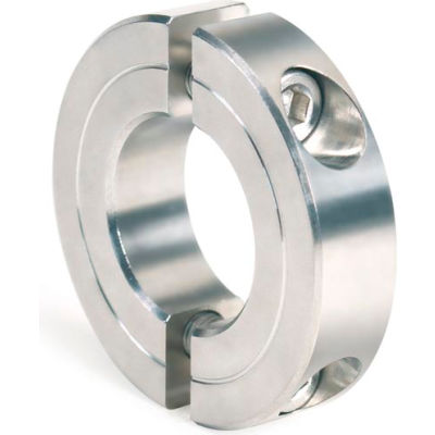 "Two-Piece Clamping Collar Recessed Screw, 2-3/8"", Stainless Steel"