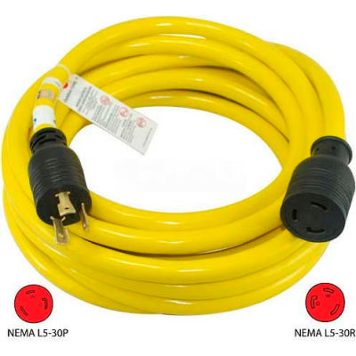 Conntek 20571, 25', 30A, Generator Power/Extension Cord with NEMA L5-30P to L5-30R