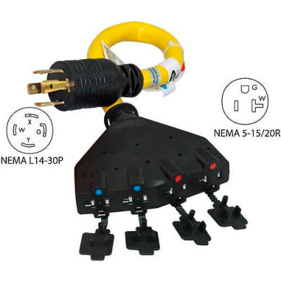 Conntek 20611-018, 1.5', 30A, Generator Power Cord with NEMA L14-30P to 5-15/20R*4