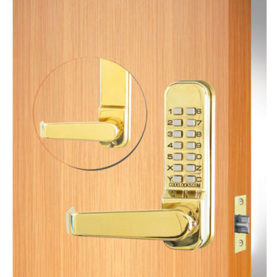 "Codelocks Mechanical Tubular Lockset with 2-3/4"" Latch, CL410-PB, Polished Brass"