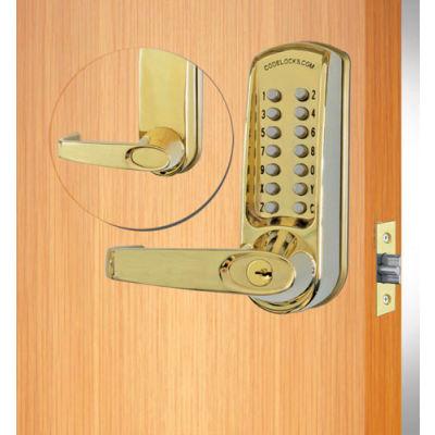 Codelocks ANSI Grade 2 Mechanical Lockset, CL610-PB, EZ Code Change, Polished Brass,