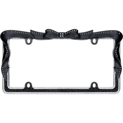 Cruiser Accessories Ribbon Bling License Plate Frame, Chrome/Black/Clear - 18545