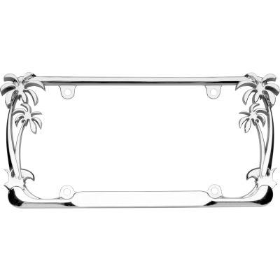 Cruiser Accessories Palm Tree License Plate Frame, Chrome - 19003