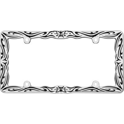 Cruiser Accessories Tribal License Plate Frame, Chrome/Black - 22135
