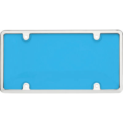 Cruiser Accessories Tuf Combo Novelty Plate Frame/Shield, Chrome/Blue - 62034