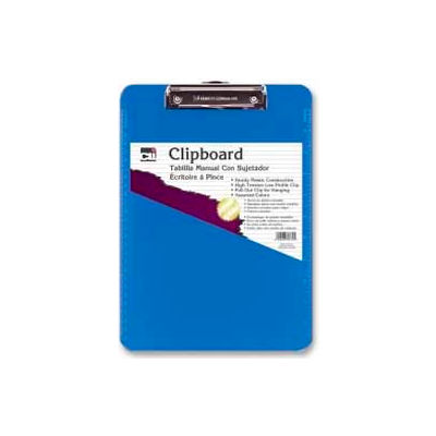 "CLI® Rubber Grip Clipboard, 8-1/2"" x 11"", Neon Blue"