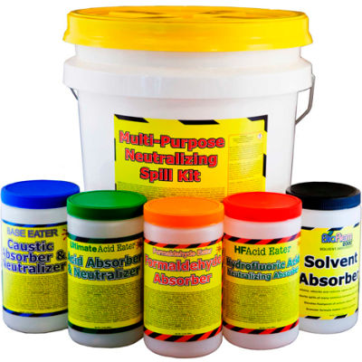 Spill Wizards Multi-Purpose Absorber & Neutralizing Spill Kit, 3.5 Gallon, 6600-035