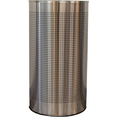 Witt Industries 12 Gal. Steel Half Round Waste Receptacle with Liner, Stainless Steel - CLHR12-SS