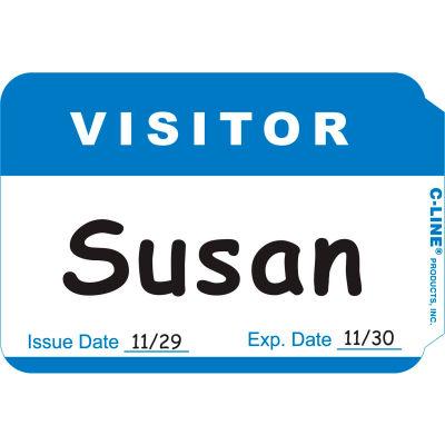 "C-Line Products Pressure Sensitive Badges, Visitor, Blue, 3-1/2"" x 2-1/4"", 100/BX (Set of 10 BX)"