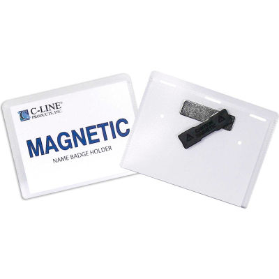 """C-Line® Magnetic Style Name Badge, 4"""" x 3"""", Clear, 20/Box"""