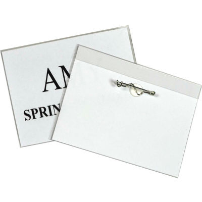 """C-Line® Pin Style Name Badge, 4"""" x 3"""", Clear, 100/Box"""
