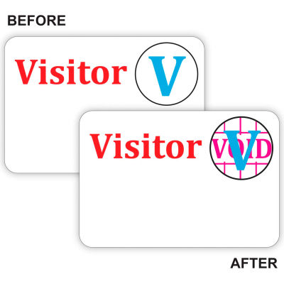 """C-Line® Time's Up! Self-Expiring Visitor Badge, One Day Badge, 3"""" x 2"""", White, 100/Box"""