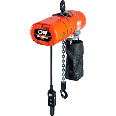 CM Lodestar VS Electric Chain Hoist, 1 Ton, 10' Lift, 1.3-8 FPM, 115-1-60, 3-Step IV Control