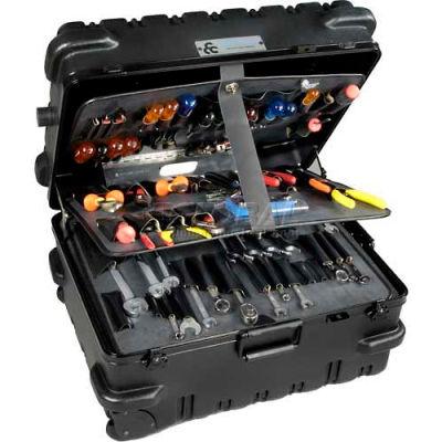 "CH Ellis Chicago Case MSCART23CC, Military-Wheeled Tool Case, 24-1/2""L x 19-1/2""W x 14""H, Black"