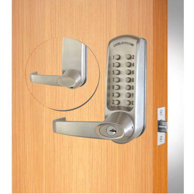 Codelocks Mechanical Lockset w/Grade 1 Cyl Chassis, CL610-CC-BS, EZ Code Change, Brushed Steel