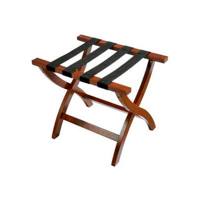Premier Curved Wood Flat Top Luggage Rack, Walnut, Black Straps, 1 Pack
