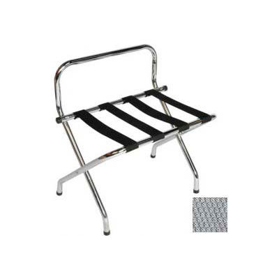 High Back Chrome Luggage Rack with Silver Straps, 1 Pack
