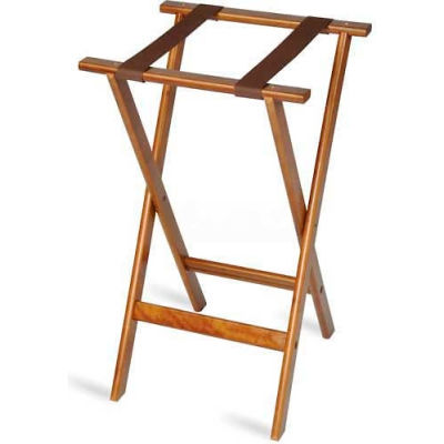 """Flat Wood Tray Stand, 18-1/2"""" x 17"""" Top x 30"""" High, 2-1/4"""" Black Straps (4 Per Case)"""