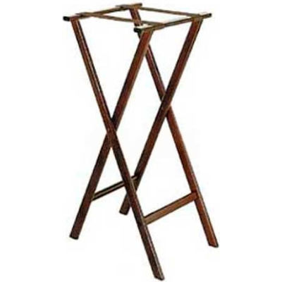 "Flat Wood Tray Stand, 18-1/2"" x 17"" Top x 38"" High, Extra Tall, 2-1/4"" Brown Straps (Single Pack)"