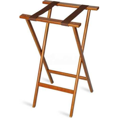 Economy Tray Stand, Brown Straps, Wood, Dark Walnut Stain Finish, (4 Per Case)