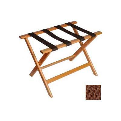 Deluxe Flat Top Wood Luggage Rack, Light Oak, Brown Straps 1 Pack