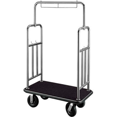 "CSL HD Square Bellman Cart 2799BK-010-BLK Stainless, Black Carpet, Black Bumper 8"" Pneumatic"