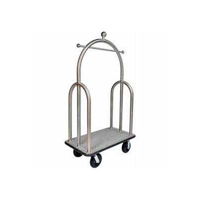 """CSL HD Trident Bellman Cart Stainless, Gray Carpet, Black Bumper, 8"""" Black Pneu"""
